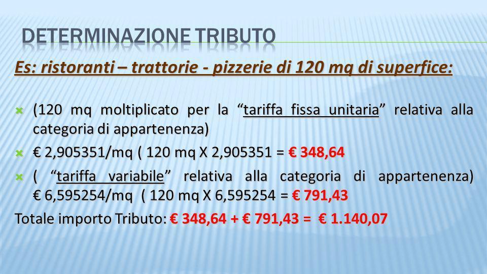 Es: ristoranti – trattorie - pizzerie di 120 mq di superfice: (120 mq moltiplicato per la tariffa fissa unitaria relativa alla categoria di appartenen