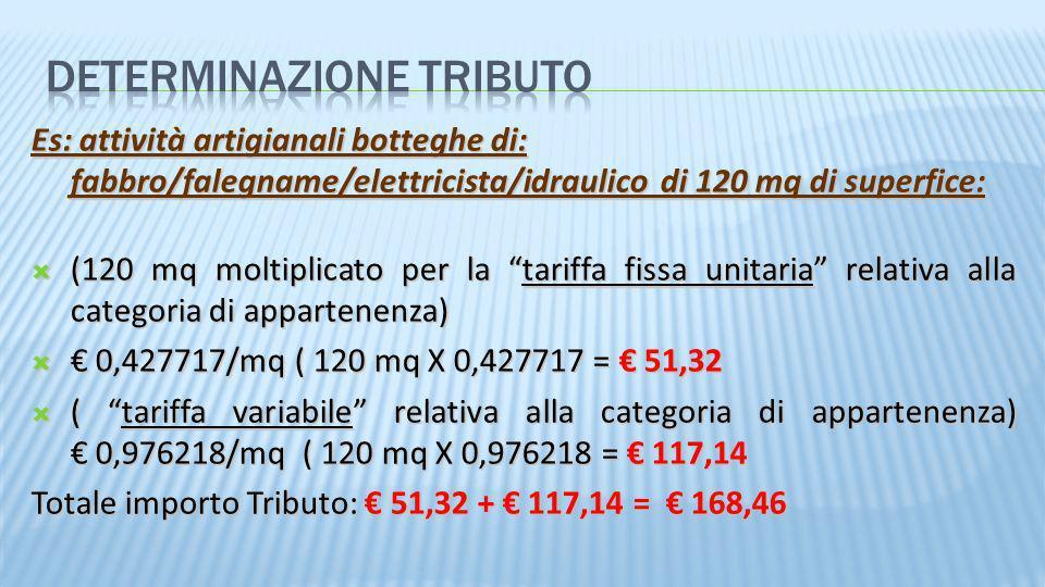 Es: attività artigianali botteghe di: fabbro/falegname/elettricista/idraulico di 120 mq di superfice: (120 mq moltiplicato per la tariffa fissa unitar
