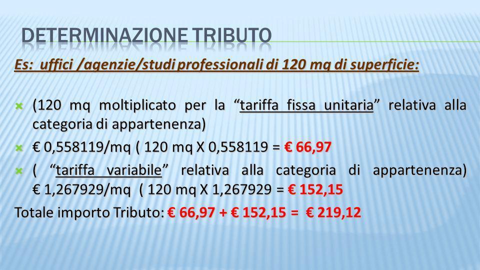 Es: uffici /agenzie/studi professionali di 120 mq di superficie: (120 mq moltiplicato per la tariffa fissa unitaria relativa alla categoria di apparte
