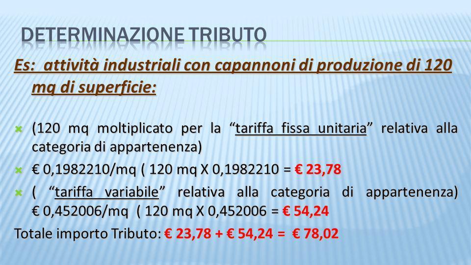 Es: attività industriali con capannoni di produzione di 120 mq di superficie: (120 mq moltiplicato per la tariffa fissa unitaria relativa alla categor