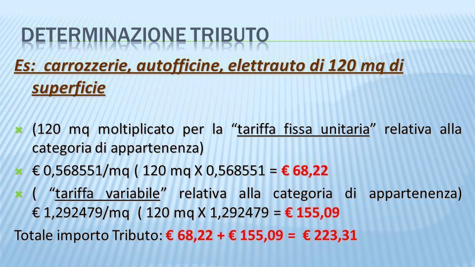 Es: carrozzerie, autofficine, elettrauto di 120 mq di superficie (120 mq moltiplicato per la tariffa fissa unitaria relativa alla categoria di apparte