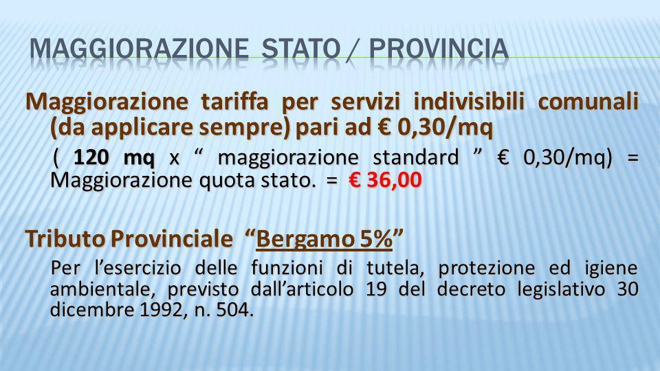 Maggiorazione tariffa per servizi indivisibili comunali (da applicare sempre) pari ad 0,30/mq ( 120 mq x maggiorazione standard 0,30/mq) = Maggiorazio