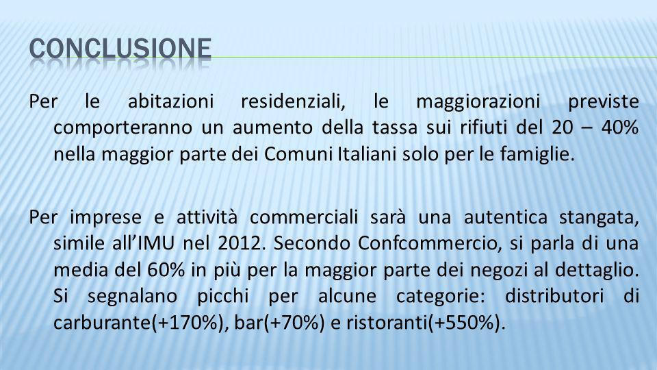 Per le abitazioni residenziali, le maggiorazioni previste comporteranno un aumento della tassa sui rifiuti del 20 – 40% nella maggior parte dei Comuni