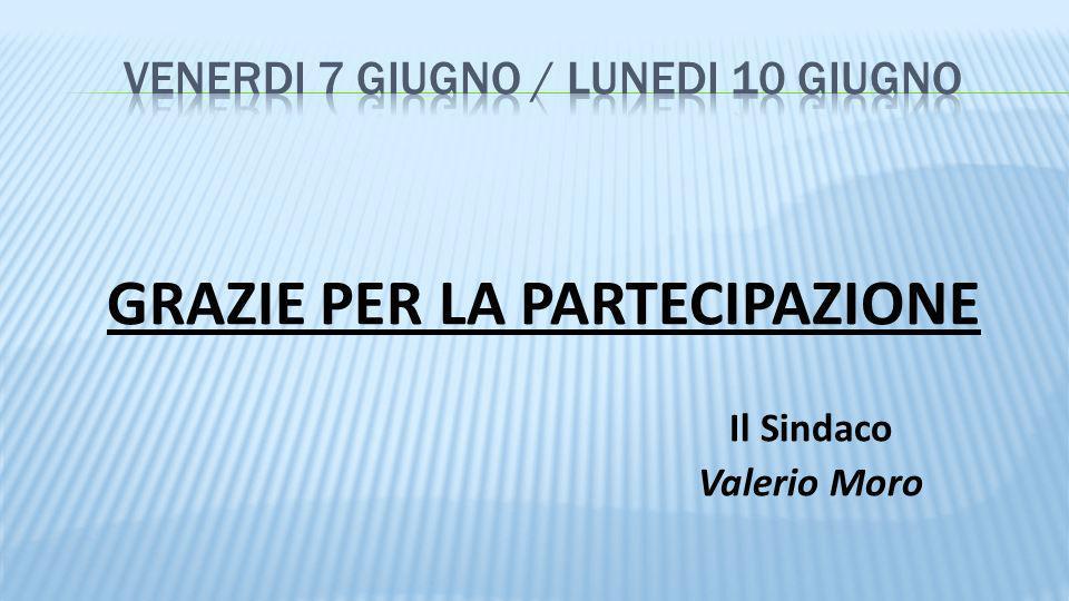 GRAZIE PER LA PARTECIPAZIONE Il Sindaco Valerio Moro