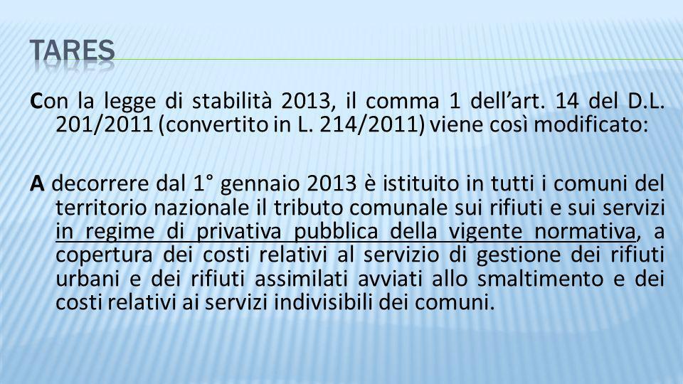 Con la legge di stabilità 2013, il comma 1 dellart. 14 del D.L. 201/2011 (convertito in L. 214/2011) viene così modificato: A decorrere dal 1° gennaio