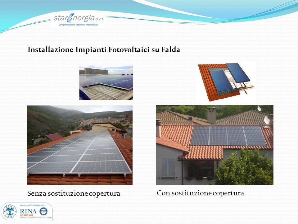 Installazione Impianti Fotovoltaici su Falda Senza sostituzione copertura Con sostituzione copertura