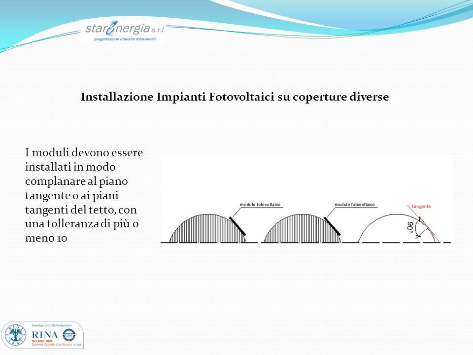 Installazione Impianti Fotovoltaici su coperture diverse I moduli devono essere installati in modo complanare al piano tangente o ai piani tangenti de