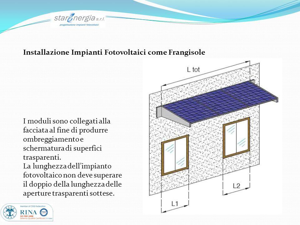Installazione Impianti Fotovoltaici come Frangisole I moduli sono collegati alla facciata al fine di produrre ombreggiamento e schermatura di superfic