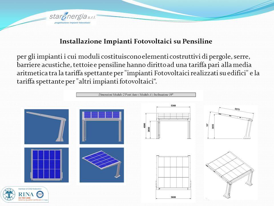 Installazione Impianti Fotovoltaici su Pensiline per gli impianti i cui moduli costituiscono elementi costruttivi di pergole, serre, barriere acustich