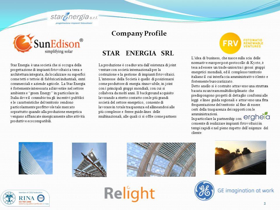 2 Company Profile STARENERGIASRL Star Energia è una società che si occupa della progettazione di impianti fotovoltaici a terra e architettura integrat
