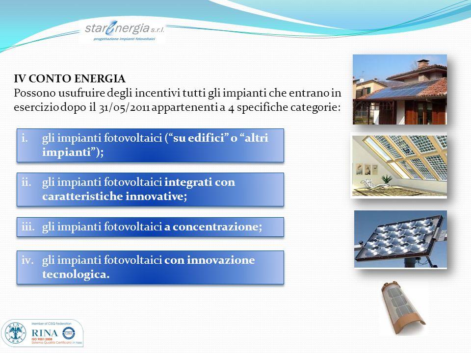 IV CONTO ENERGIA Possono usufruire degli incentivi tutti gli impianti che entrano in esercizio dopo il 31/05/2011 appartenenti a 4 specifiche categori