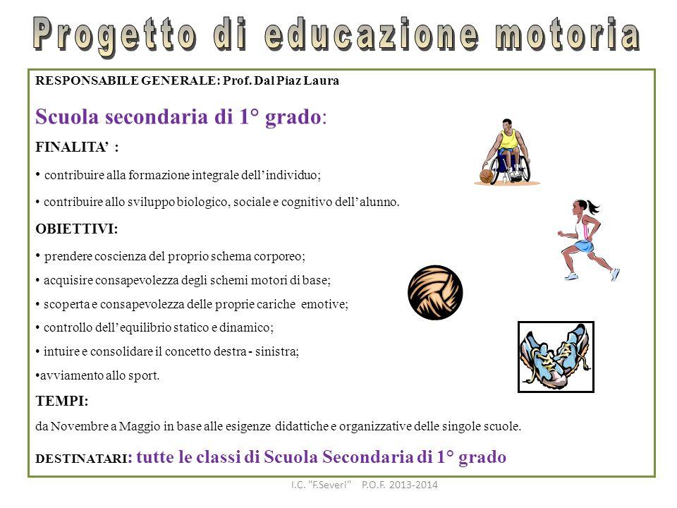 RESPONSABILE GENERALE: Prof. Dal Piaz Laura Scuola secondaria di 1° grado: FINALITA : contribuire alla formazione integrale dellindividuo; contribuire