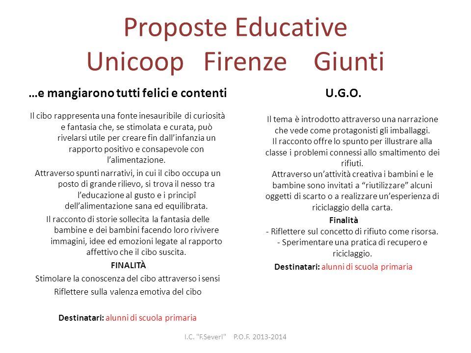 Proposte Educative Unicoop Firenze Giunti …e mangiarono tutti felici e contenti Il cibo rappresenta una fonte inesauribile di curiosità e fantasia che