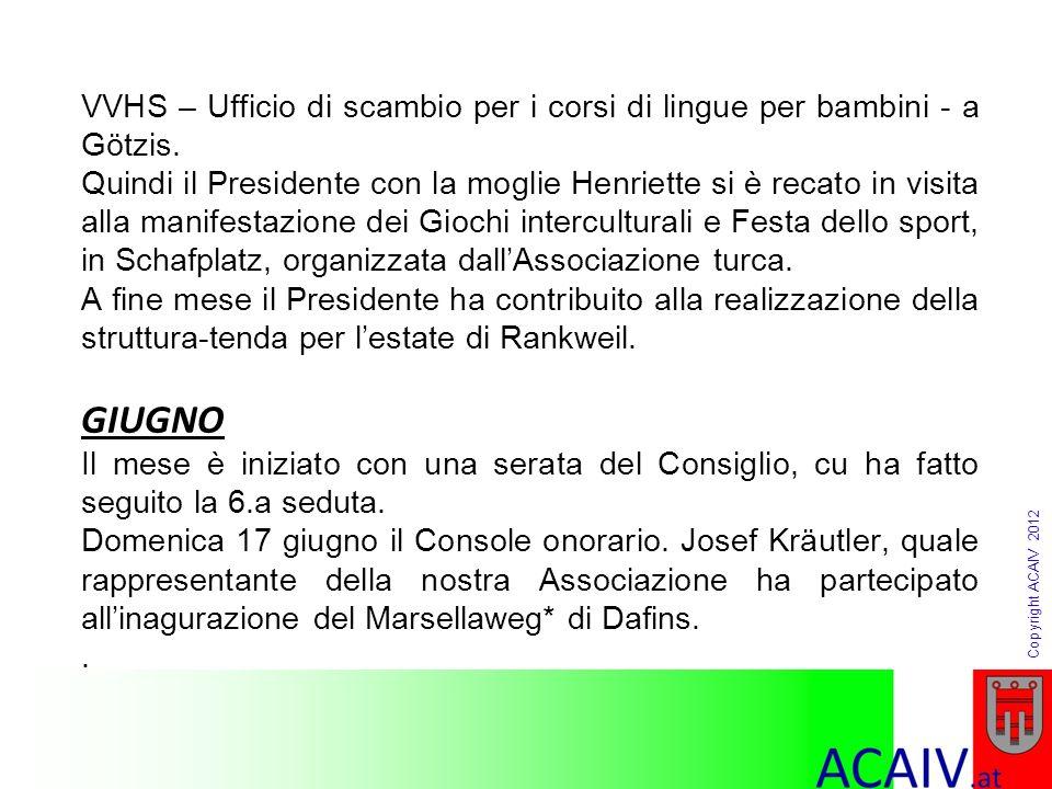Copyright ACAIV 2012 Resoconto di cassa 2012