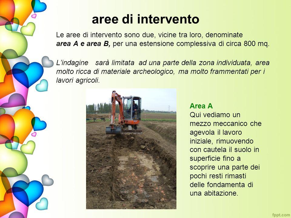 aree di intervento Le aree di intervento sono due, vicine tra loro, denominate area A e area B, per una estensione complessiva di circa 800 mq.