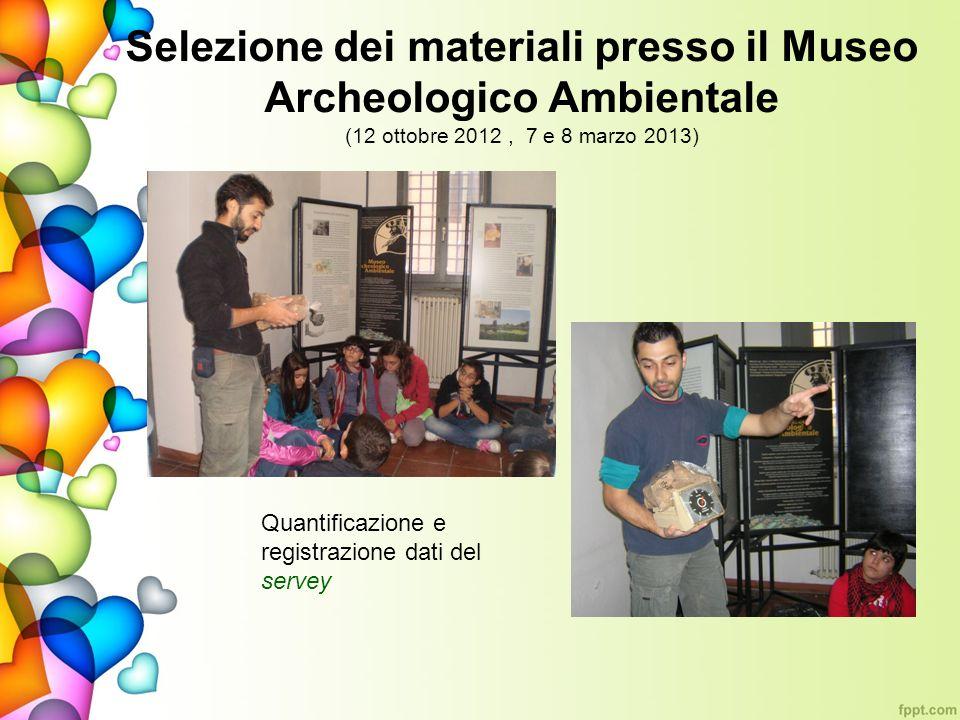 Selezione dei materiali presso il Museo Archeologico Ambientale (12 ottobre 2012, 7 e 8 marzo 2013) Quantificazione e registrazione dati del servey