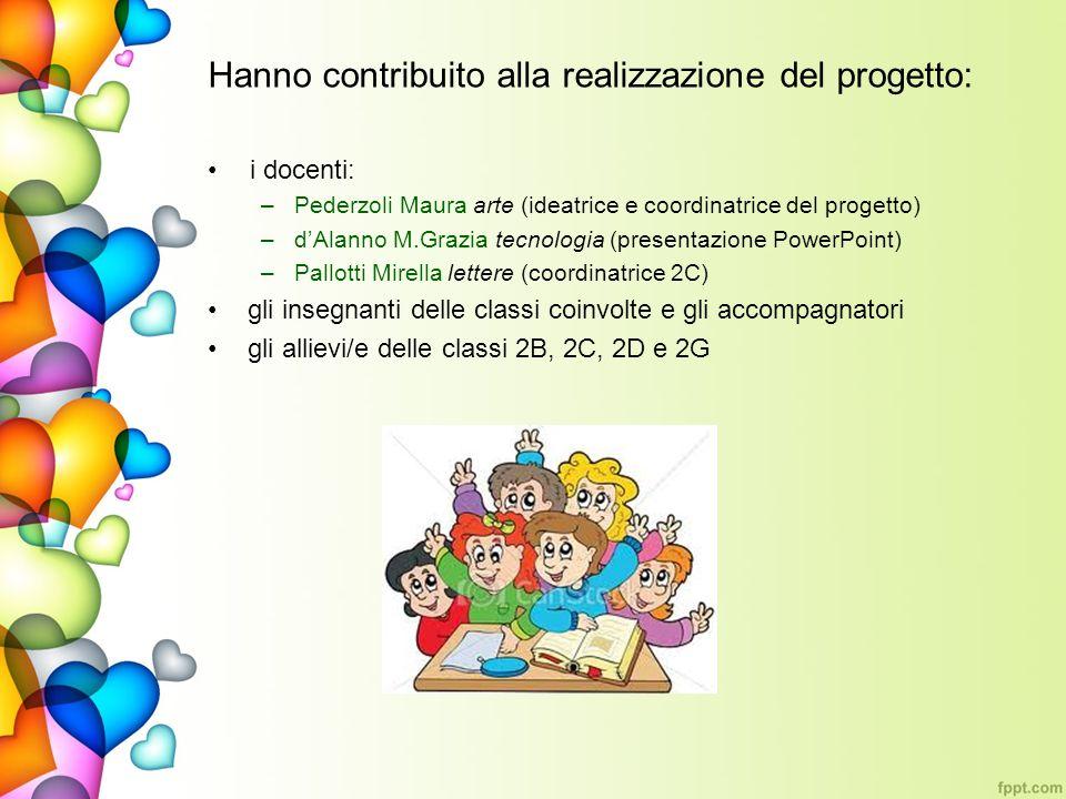 Hanno contribuito alla realizzazione del progetto: i docenti: –Pederzoli Maura arte (ideatrice e coordinatrice del progetto) –dAlanno M.Grazia tecnolo
