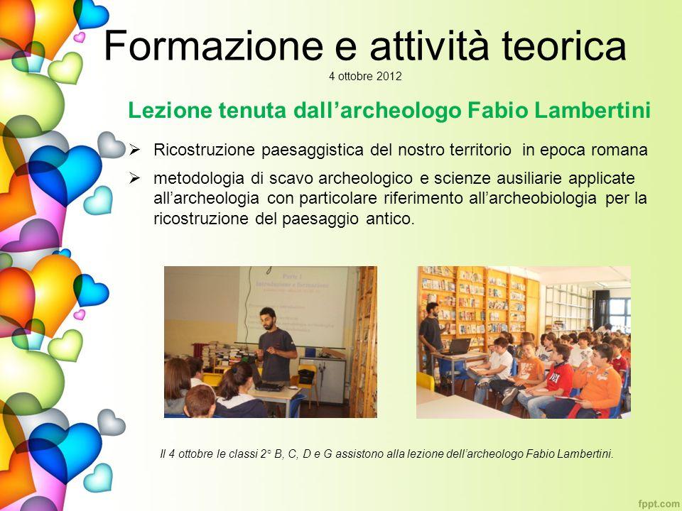 Formazione e attività teorica 4 ottobre 2012 Lezione tenuta dallarcheologo Fabio Lambertini Ricostruzione paesaggistica del nostro territorio in epoca