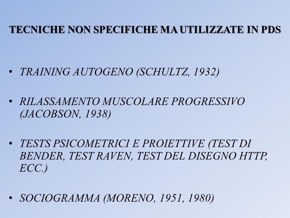 TECNICHE NON SPECIFICHE MA UTILIZZATE IN PDS TRAINING AUTOGENO (SCHULTZ, 1932) RILASSAMENTO MUSCOLARE PROGRESSIVO (JACOBSON, 1938) TESTS PSICOMETRICI