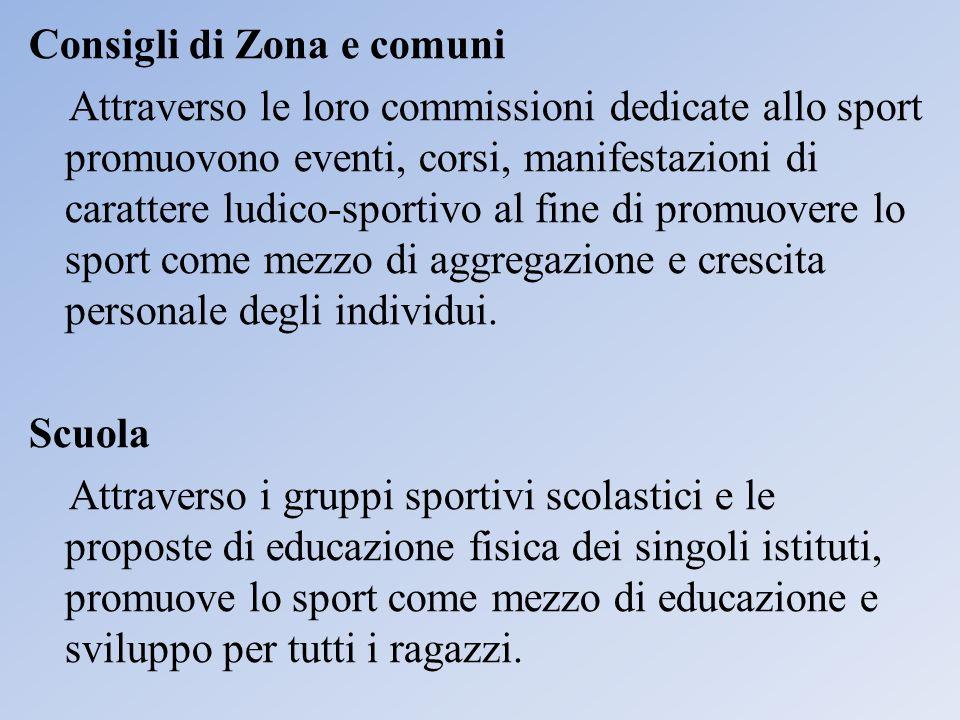 Consigli di Zona e comuni Attraverso le loro commissioni dedicate allo sport promuovono eventi, corsi, manifestazioni di carattere ludico-sportivo al