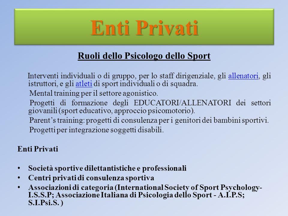 Enti Privati Ruoli dello Psicologo dello Sport Interventi individuali o di gruppo, per lo staff dirigenziale, gli allenatori, gli istruttori, e gli at
