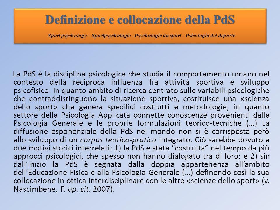 Definizione e collocazione della PdS Definizione e collocazione della PdS Sport psychology – Sportpsychologie - Psychologie du sport - Psicología del