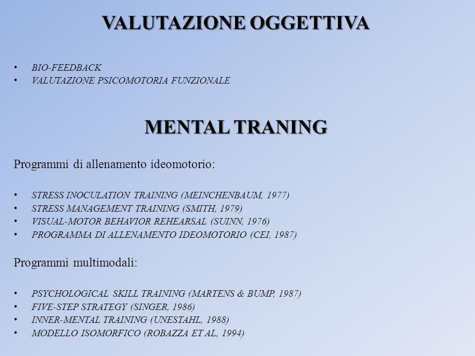 VALUTAZIONE OGGETTIVA BIO-FEEDBACK VALUTAZIONE PSICOMOTORIA FUNZIONALE MENTAL TRANING Programmi di allenamento ideomotorio: STRESS INOCULATION TRAININ