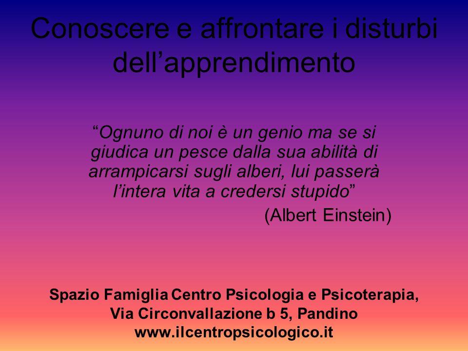 Conoscere e affrontare i disturbi dellapprendimento Spazio Famiglia Centro Psicologia e Psicoterapia, Via Circonvallazione b 5, Pandino www.ilcentrops