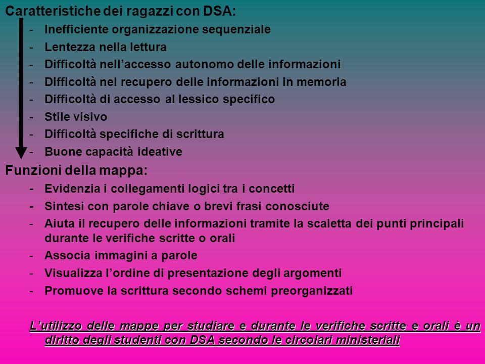 Caratteristiche dei ragazzi con DSA: -Inefficiente organizzazione sequenziale -Lentezza nella lettura -Difficoltà nellaccesso autonomo delle informazi