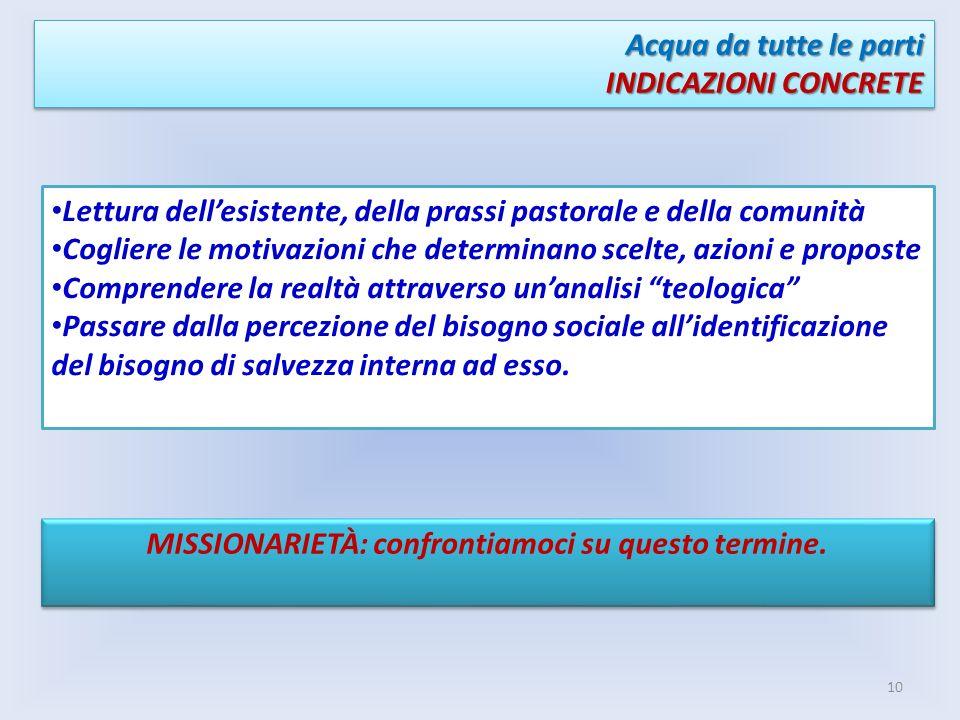 Acqua da tutte le parti INDICAZIONI CONCRETE Acqua da tutte le parti INDICAZIONI CONCRETE Lettura dellesistente, della prassi pastorale e della comuni