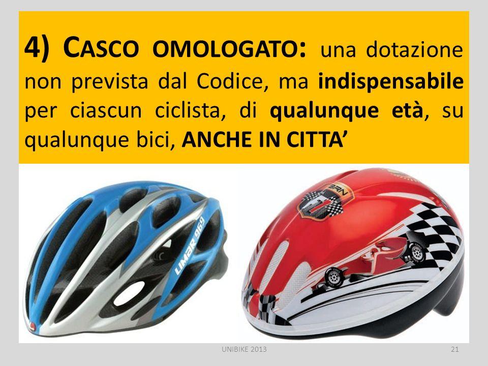 4) C ASCO OMOLOGATO : una dotazione non prevista dal Codice, ma indispensabile per ciascun ciclista, di qualunque età, su qualunque bici, ANCHE IN CIT