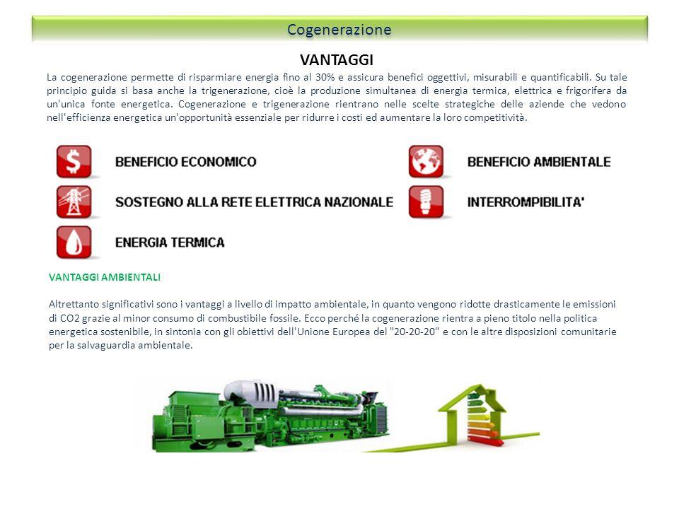 VANTAGGI La cogenerazione permette di risparmiare energia fino al 30% e assicura benefici oggettivi, misurabili e quantificabili. Su tale principio gu