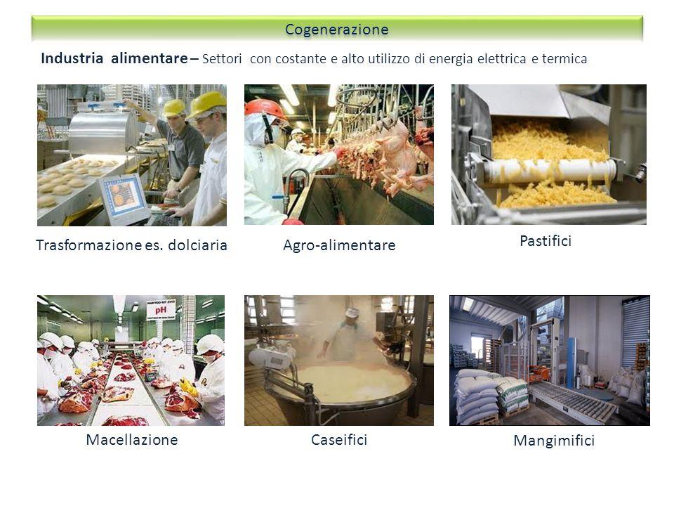 Industria alimentare – Settori con costante e alto utilizzo di energia elettrica e termica Agro-alimentare Pastifici MacellazioneCaseifici Mangimifici