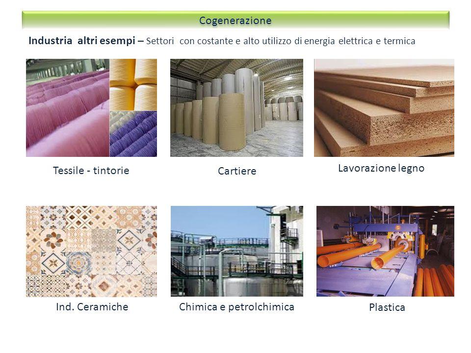 Tessile - tintorie Industria altri esempi – Settori con costante e alto utilizzo di energia elettrica e termica Cartiere Lavorazione legno Ind. Cerami