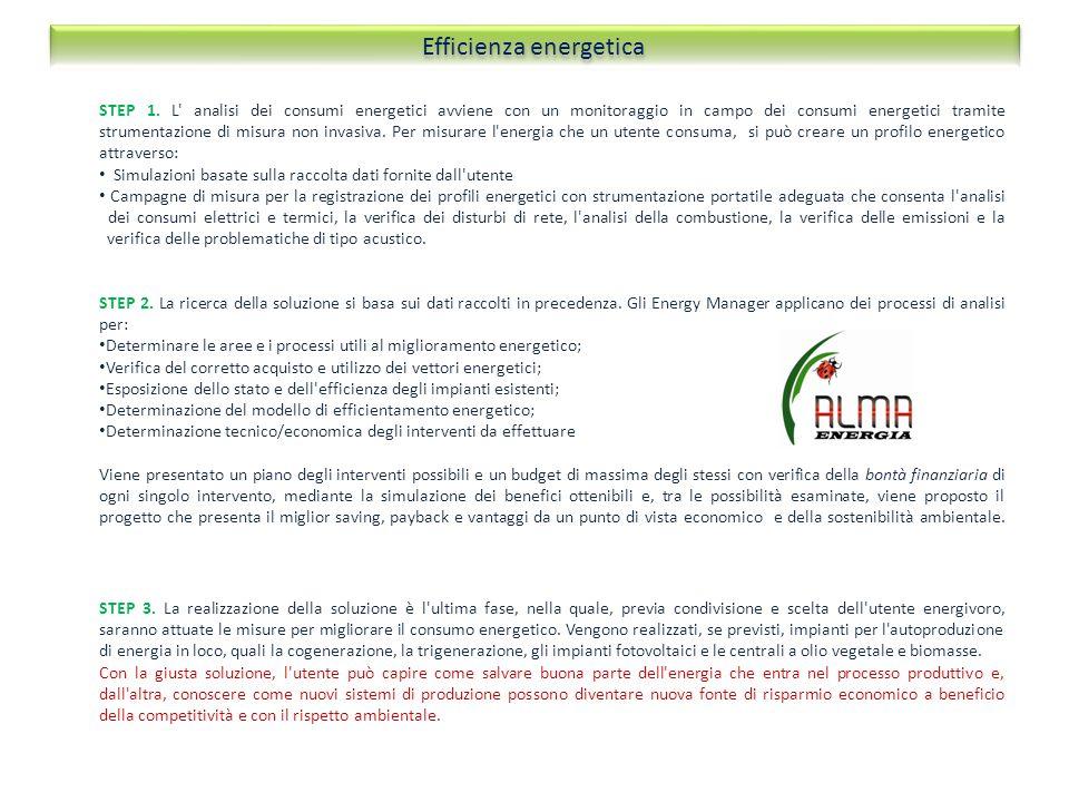 STEP 1. L' analisi dei consumi energetici avviene con un monitoraggio in campo dei consumi energetici tramite strumentazione di misura non invasiva. P