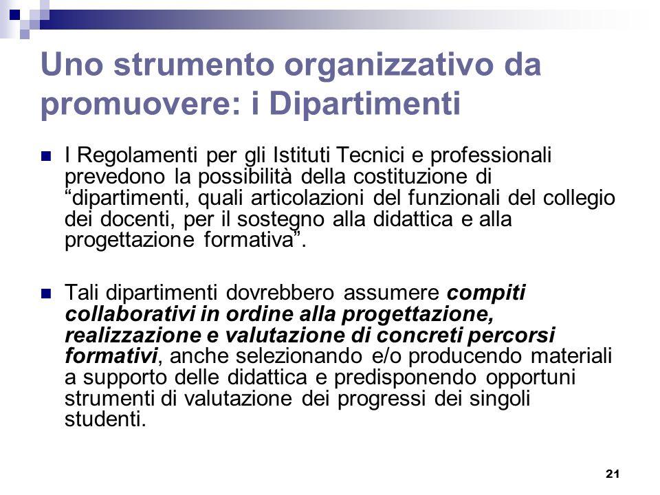 21 Uno strumento organizzativo da promuovere: i Dipartimenti I Regolamenti per gli Istituti Tecnici e professionali prevedono la possibilità della cos