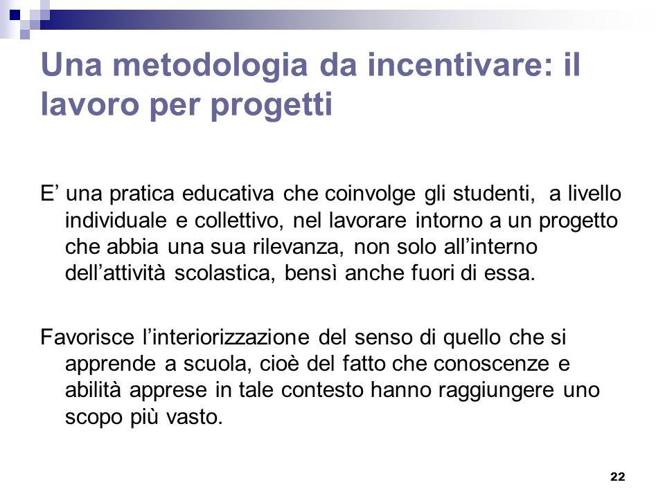 22 Una metodologia da incentivare: il lavoro per progetti E una pratica educativa che coinvolge gli studenti, a livello individuale e collettivo, nel