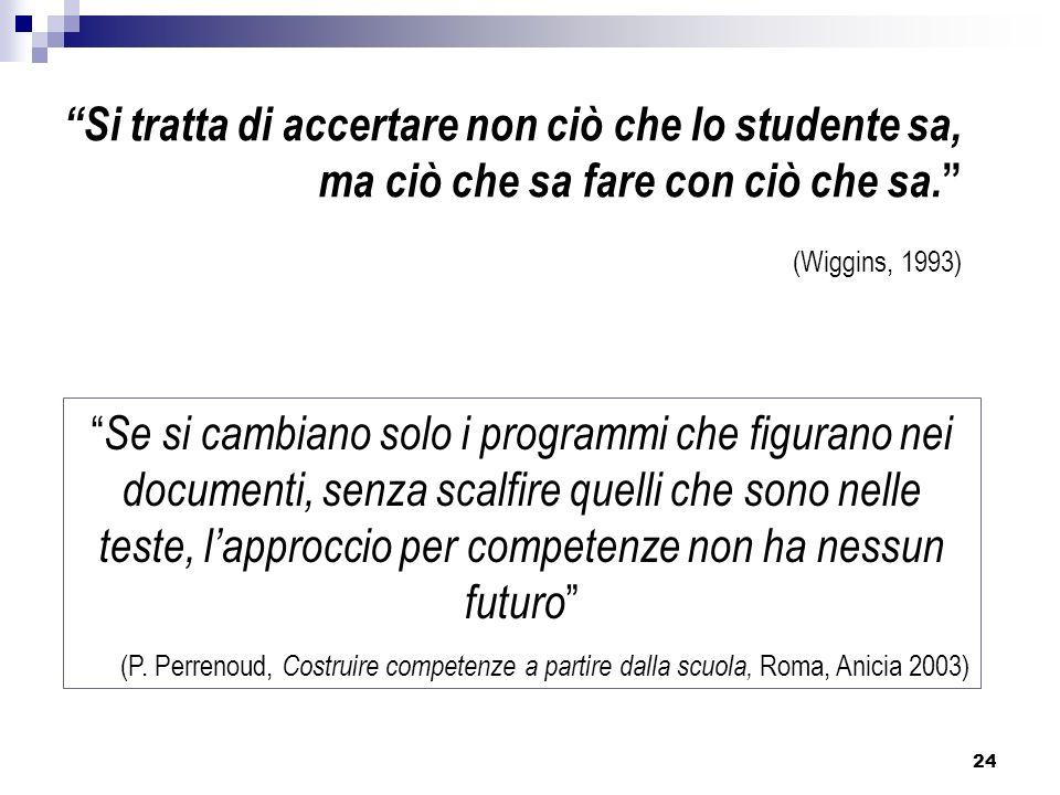 24 Si tratta di accertare non ciò che lo studente sa, ma ciò che sa fare con ciò che sa. (Wiggins, 1993) Se si cambiano solo i programmi che figurano
