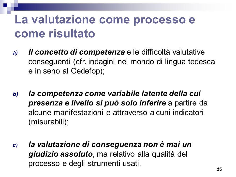 25 La valutazione come processo e come risultato a) Il concetto di competenza e le difficoltà valutative conseguenti (cfr. indagini nel mondo di lingu