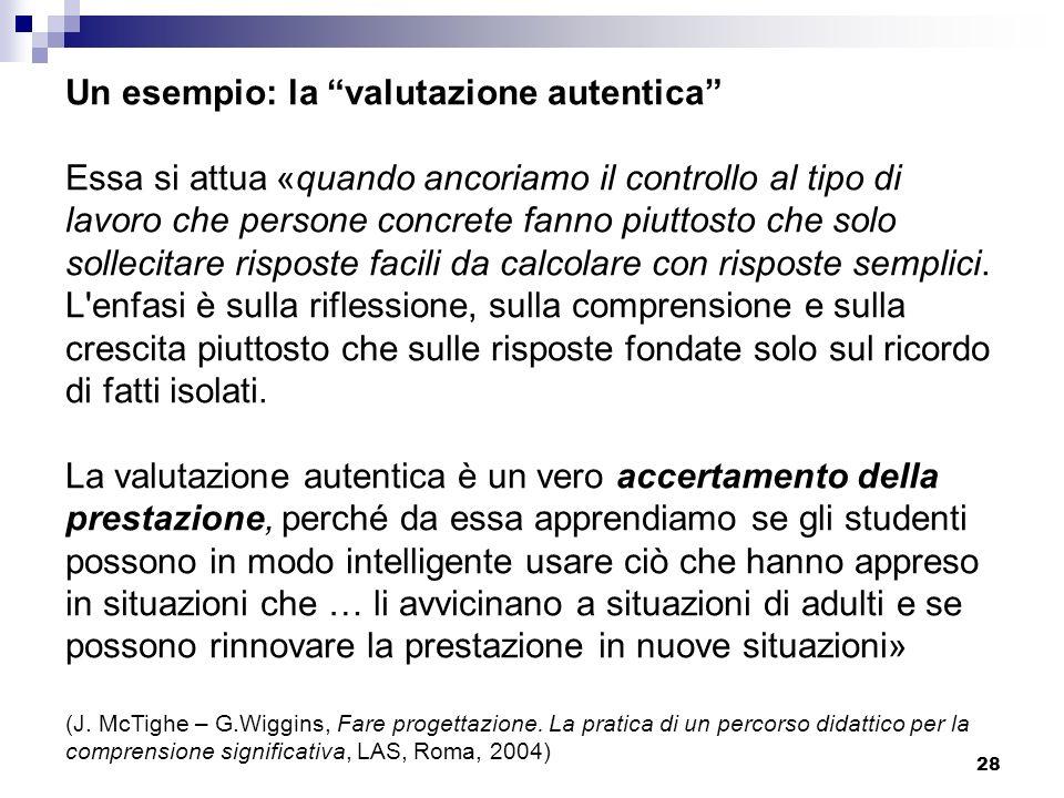 28 Un esempio: la valutazione autentica Essa si attua «quando ancoriamo il controllo al tipo di lavoro che persone concrete fanno piuttosto che solo s