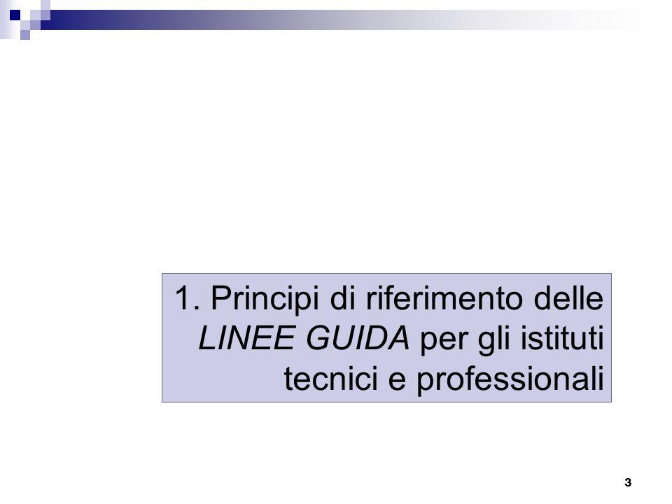 3 1. Principi di riferimento delle LINEE GUIDA per gli istituti tecnici e professionali
