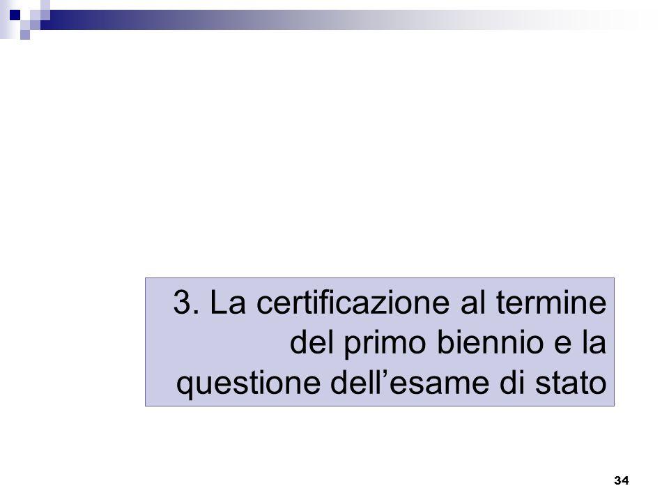 34 3. La certificazione al termine del primo biennio e la questione dellesame di stato