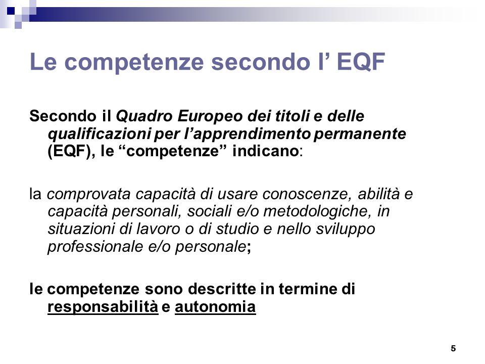 5 Le competenze secondo l EQF Secondo il Quadro Europeo dei titoli e delle qualificazioni per lapprendimento permanente (EQF), le competenze indicano: