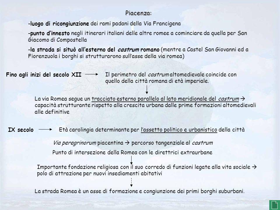 Piacenza: -luogo di ricongiunzione dei rami padani della Via Francigena -punto dinnesto negli itinerari italiani delle altre romee a cominciare da que