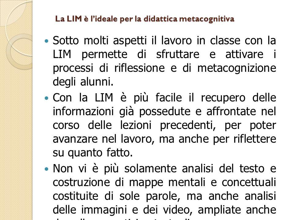 La LIM è lideale per la didattica metacognitiva Sotto molti aspetti il lavoro in classe con la LIM permette di sfruttare e attivare i processi di riflessione e di metacognizione degli alunni.