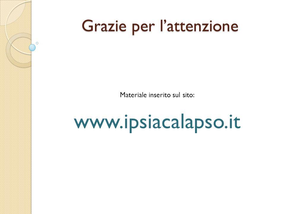 Grazie per lattenzione Materiale inserito sul sito: www.ipsiacalapso.it