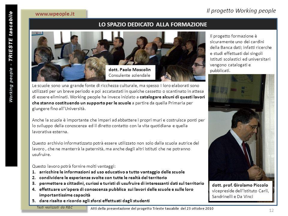 Titolo documento Il progetto formazione è sicuramente uno dei cardini della Banca dati; infatti ricerche e studi effettuati dai singoli Istituti scola
