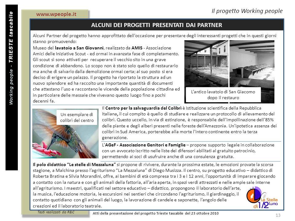 Titolo documento Il progetto Working people ALCUNI DEI PROGETTI PRESENTATI DAI PARTNER Atti della presentazione del progetto Trieste tascabile del 23