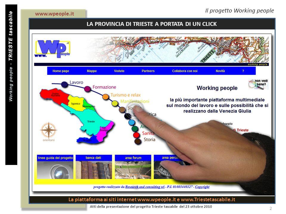 Il progetto Working people Atti della presentazione del progetto Trieste tascabile del 23 ottobre 2010 2 www.wpeople.it LA PROVINCIA DI TRIESTE A PORT