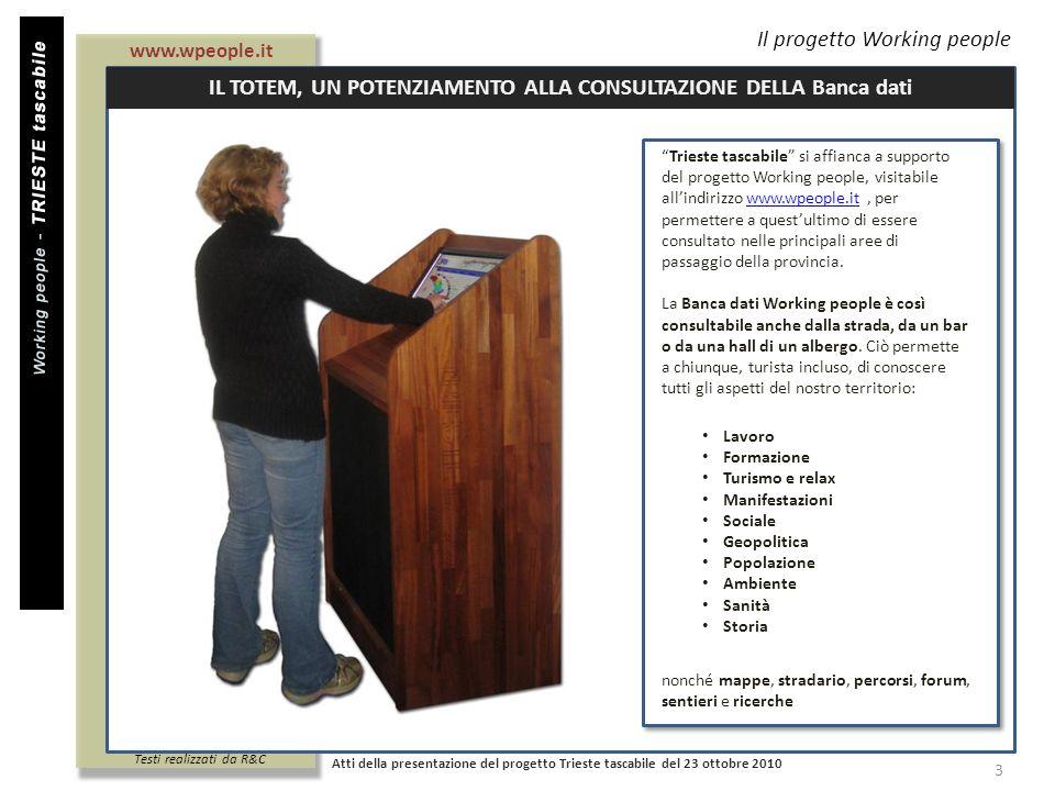 Il progetto Working people Atti della presentazione del progetto Trieste tascabile del 23 ottobre 2010 3 Trieste tascabile si affianca a supporto del